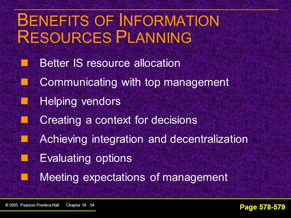 BENEFITS OF INFORMATION RESOURCES PLANNING
