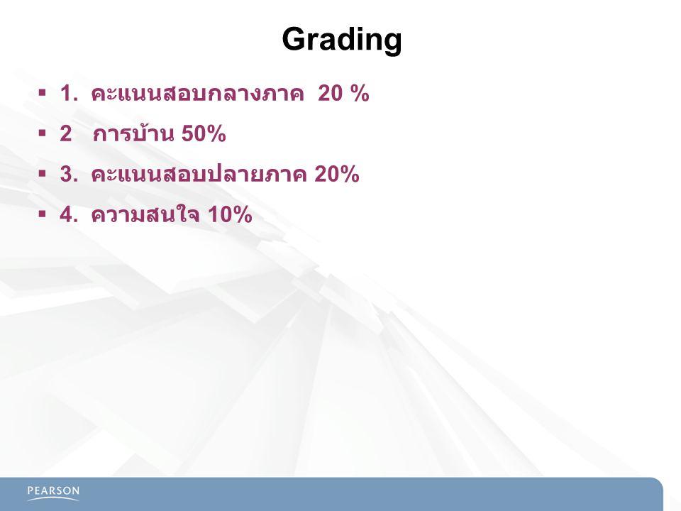Grading 1. คะแนนสอบกลางภาค 20 % 2 การบ้าน 50% 3. คะแนนสอบปลายภาค 20%