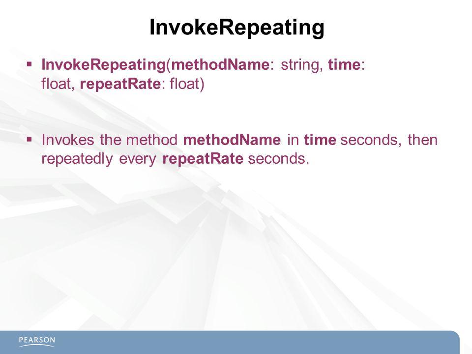 InvokeRepeating InvokeRepeating(methodName: string, time: float, repeatRate: float)