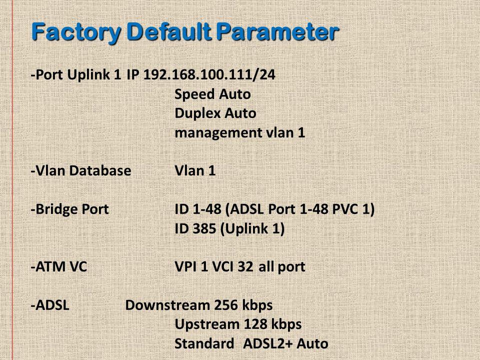Factory Default Parameter