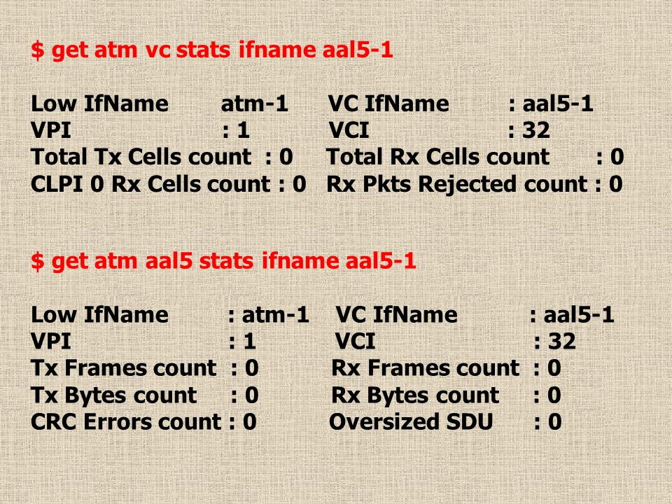 $ get atm vc stats ifname aal5-1