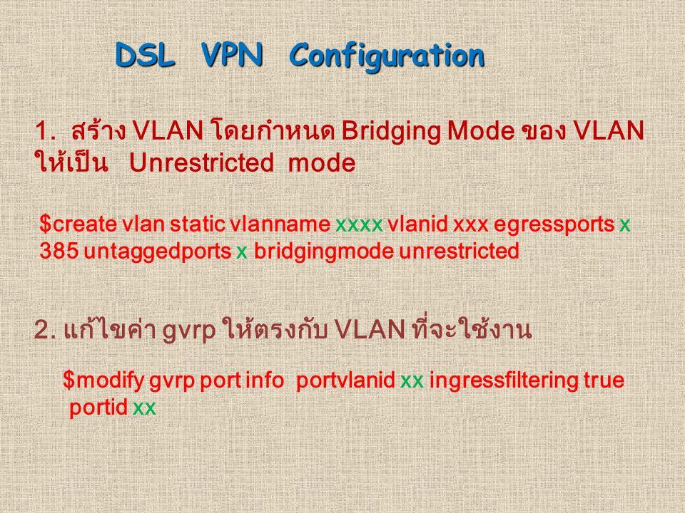 DSL VPN Configuration 1. สราง VLAN โดยกำหนด Bridging Mode ของ VLAN ใหเปน Unrestricted mode.