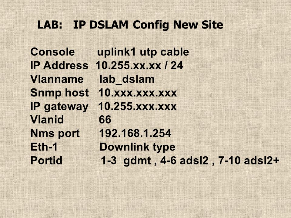 LAB: IP DSLAM Config New Site