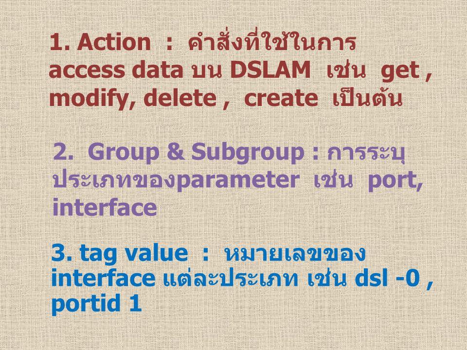 1. Action : คำสั่งที่ใช้ในการ access data บน DSLAM เช่น get , modify, delete , create เป็นต้น