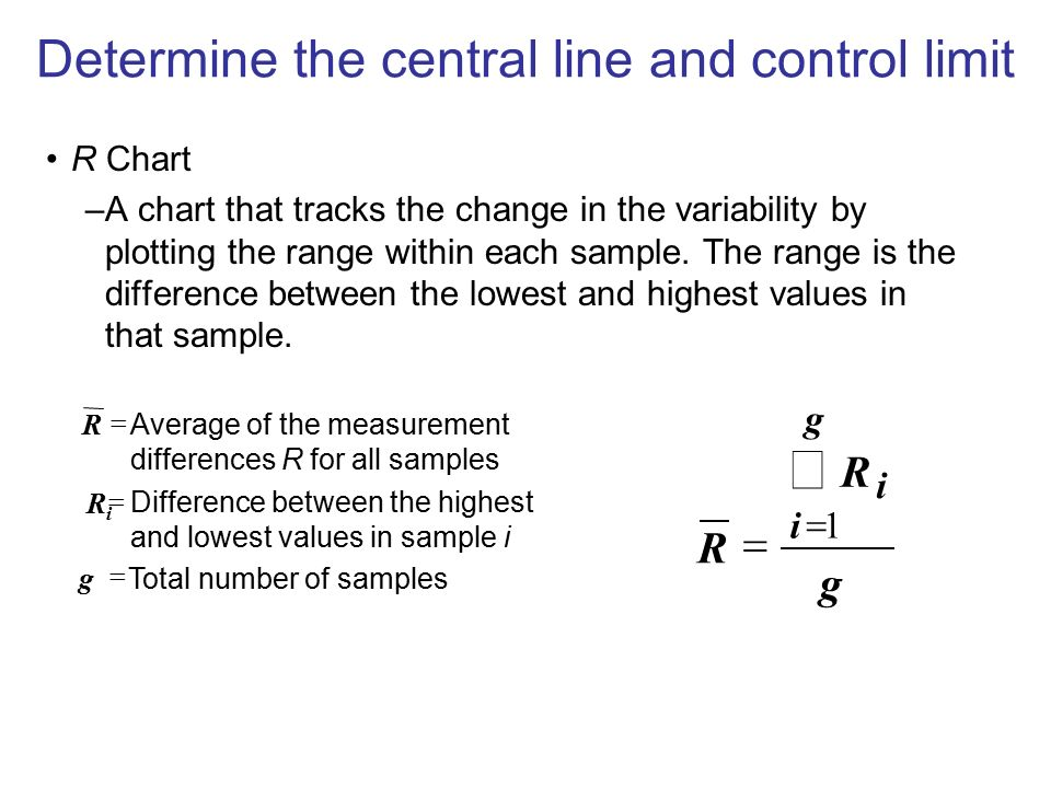 Determine the central line and control limit