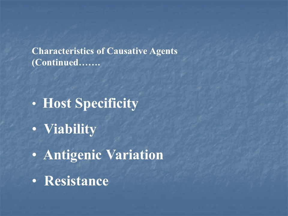 Viability Antigenic Variation Resistance Host Specificity