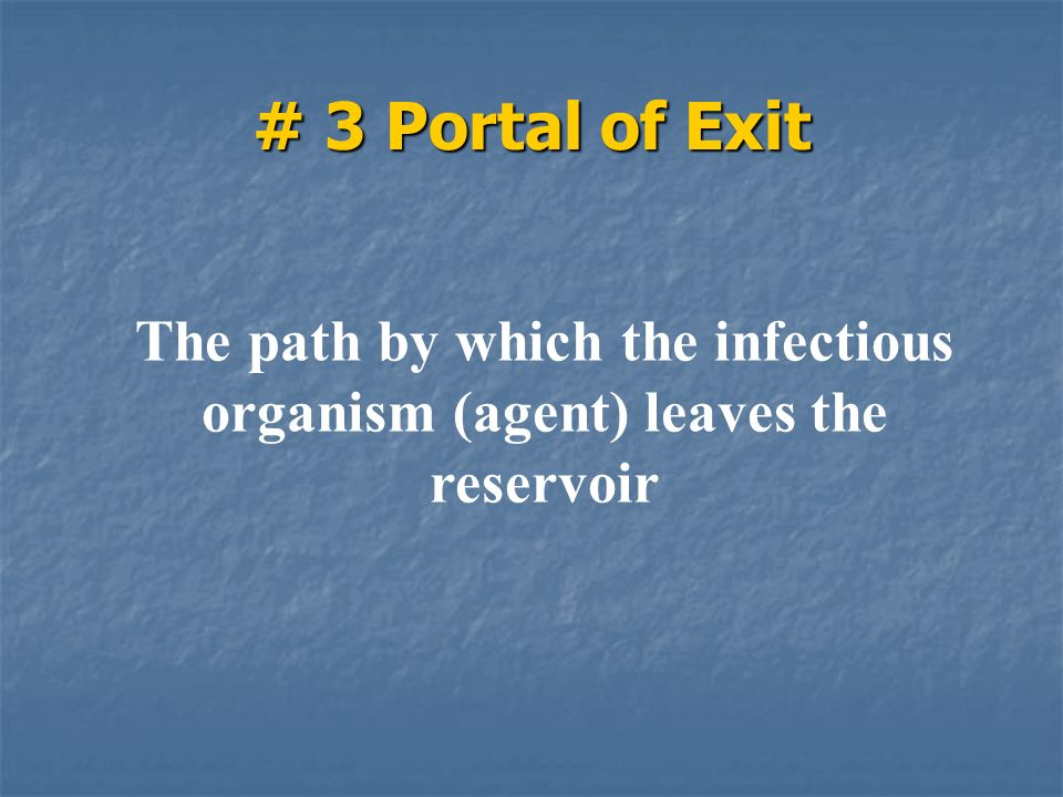 The path by which the infectious organism (agent) leaves the reservoir