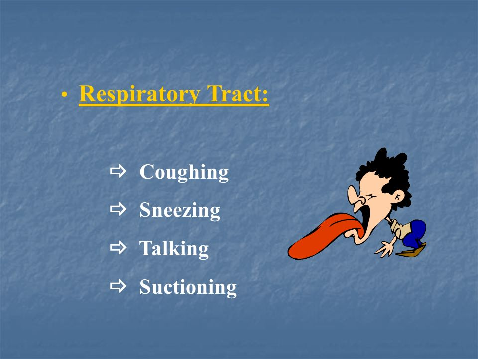 Respiratory Tract:  Coughing  Sneezing  Talking  Suctioning
