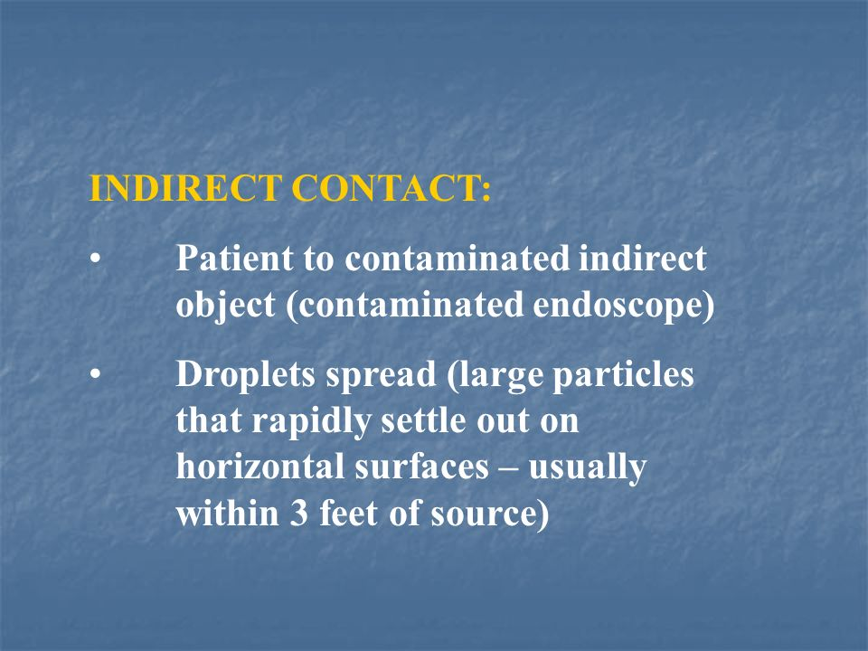 INDIRECT CONTACT: Patient to contaminated indirect object (contaminated endoscope)
