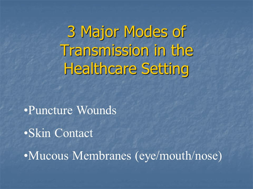 3 Major Modes of Transmission in the Healthcare Setting