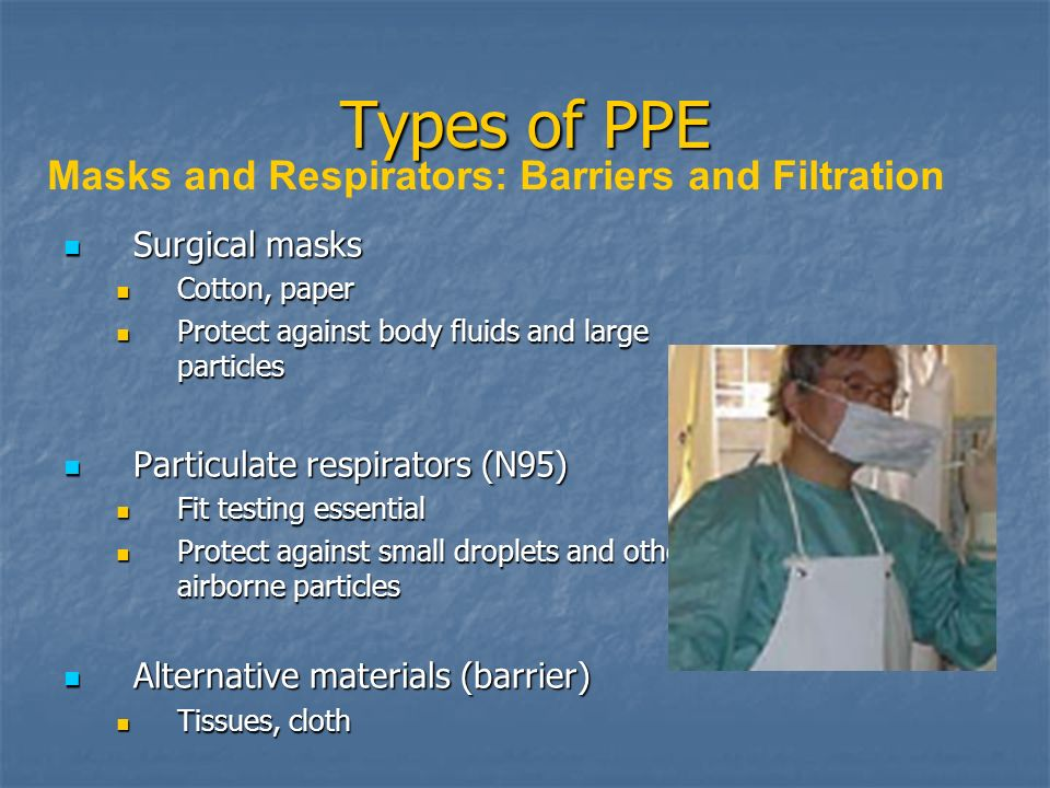 Types of PPE Masks and Respirators: Barriers and Filtration