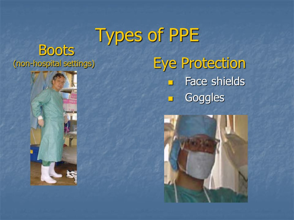 Types of PPE Boots Eye Protection Face shields Goggles