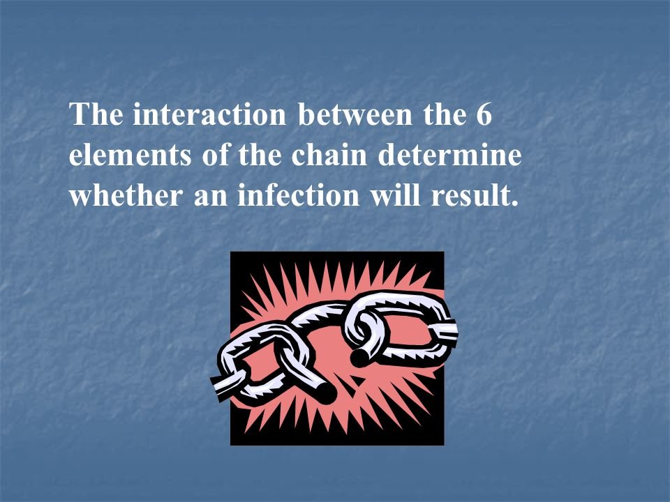 The interaction between the 6 elements of the chain determine whether an infection will result.