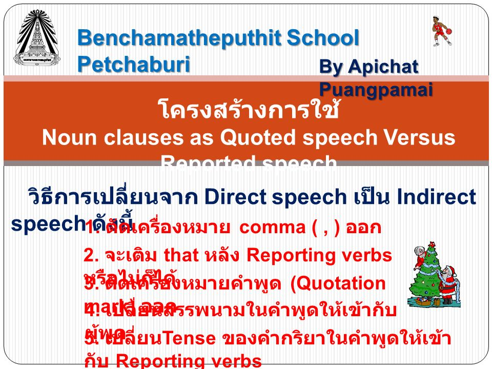 Noun clauses as Quoted speech Versus Reported speech