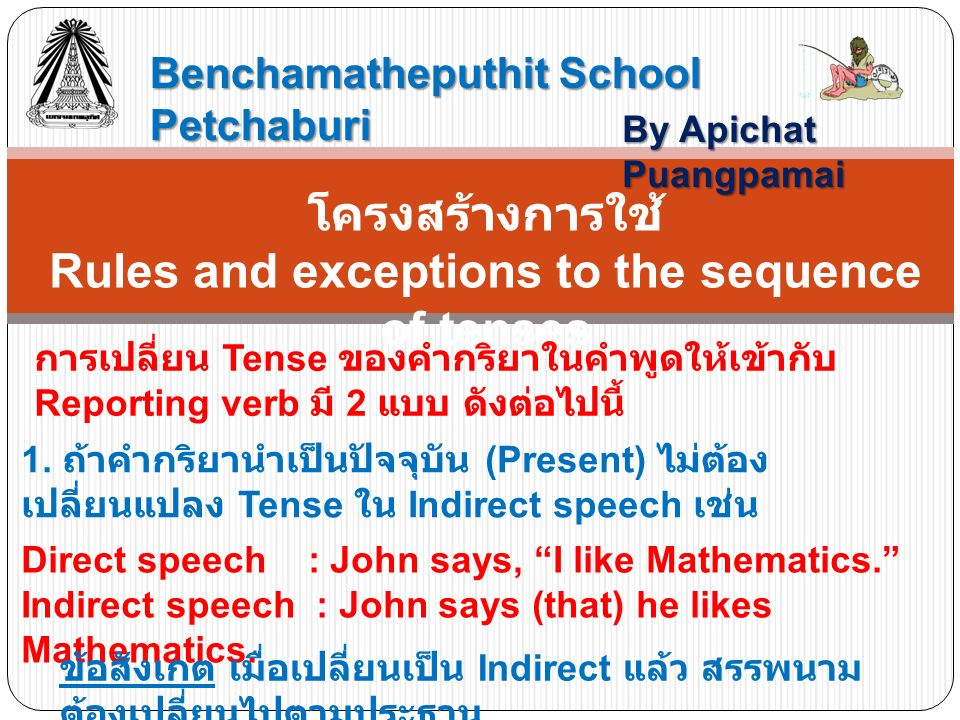 Rules and exceptions to the sequence of tenses