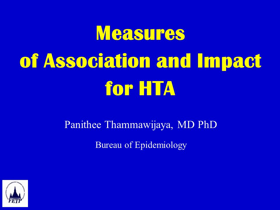 Measures of Association and Impact for HTA