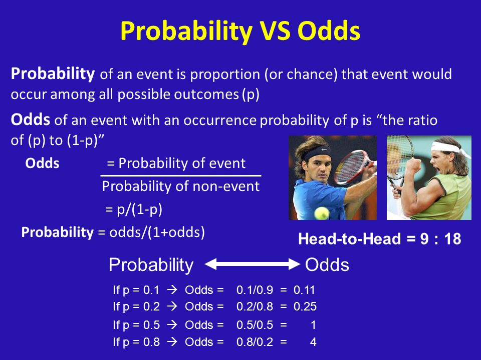 Probability VS Odds Probability of an event is proportion (or chance) that event would occur among all possible outcomes (p)