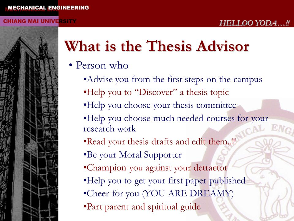 What is the Thesis Advisor