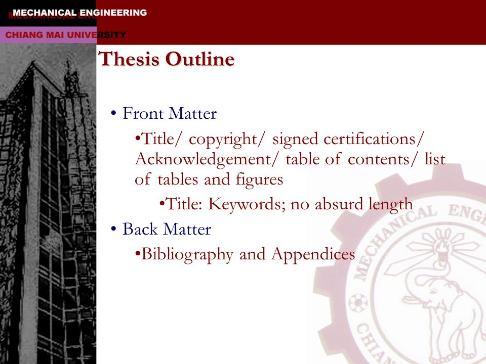 Thesis Outline Front Matter