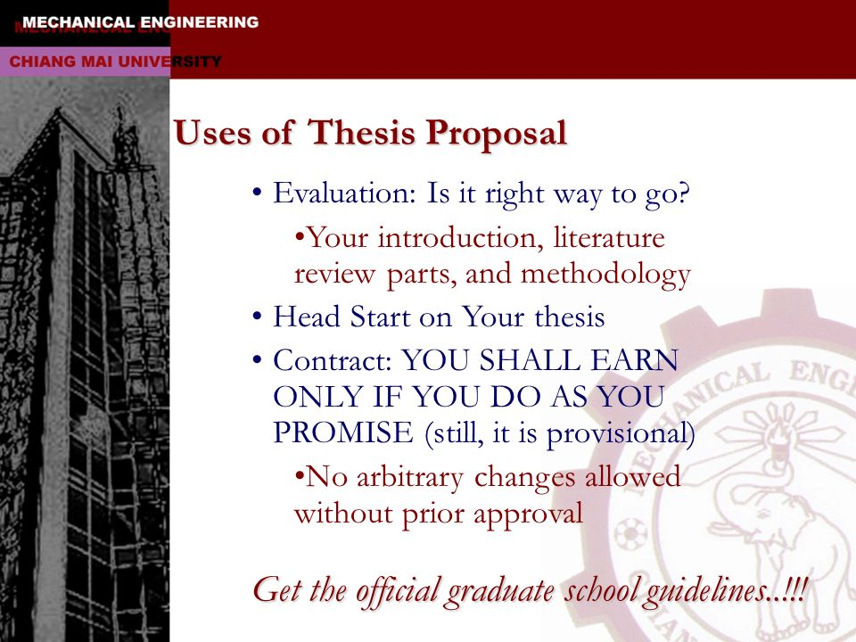 Uses of Thesis Proposal