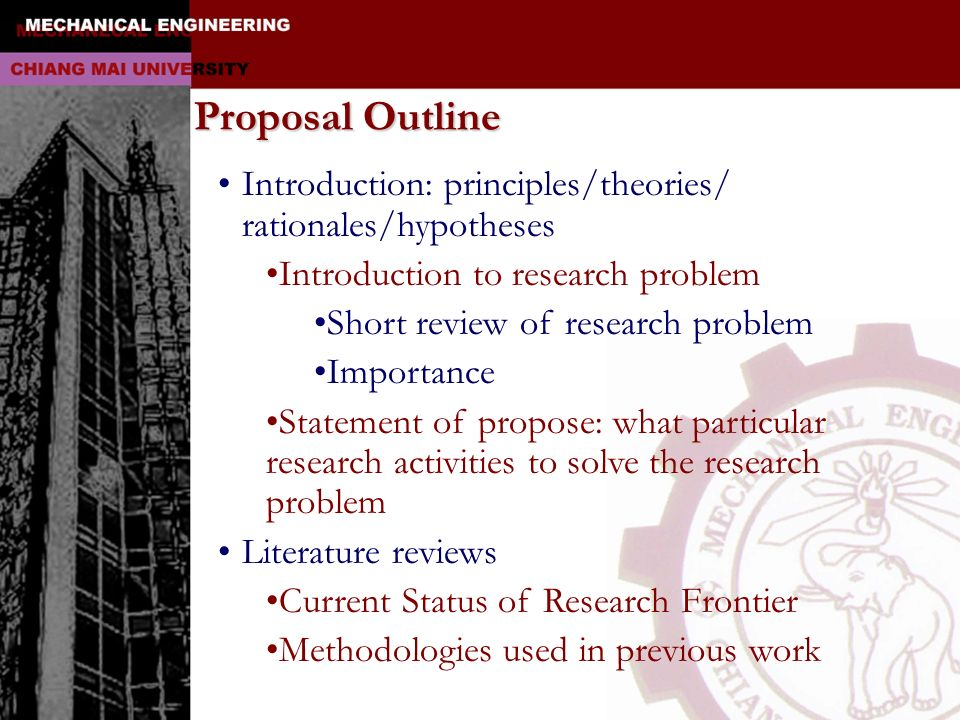 Proposal Outline Introduction: principles/theories/ rationales/hypotheses. Introduction to research problem.