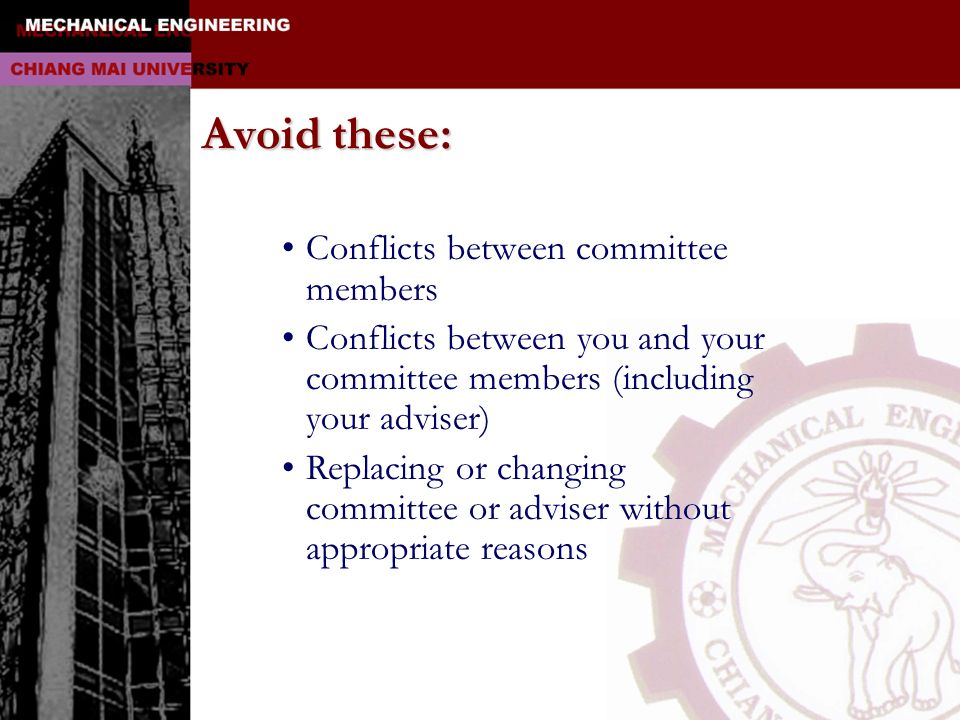 Avoid these: Conflicts between committee members