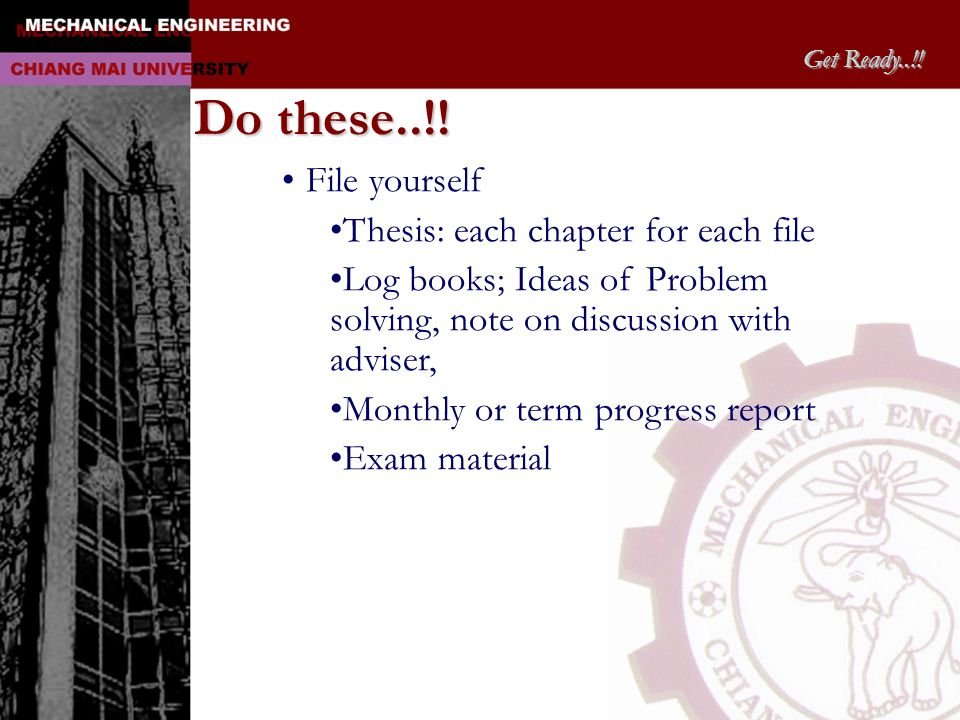 Do these..!! File yourself Thesis: each chapter for each file