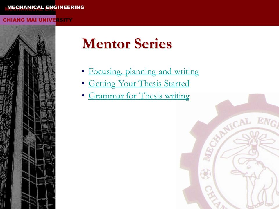 Mentor Series Focusing, planning and writing