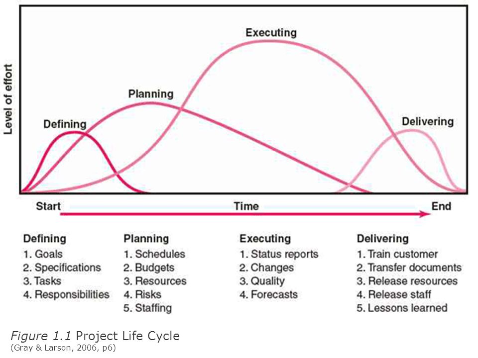 Figure 1.1 Project Life Cycle (Gray & Larson, 2006, p6)