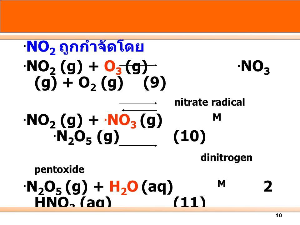 .NO2 (g) + O3 (g) .NO3 (g) + O2 (g) (9)