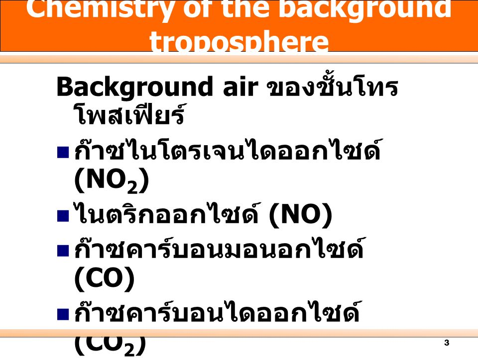 Chemistry of the background troposphere