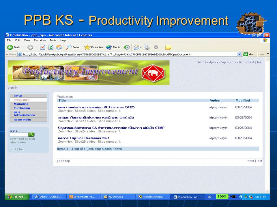 PPB KS - Productivity Improvement