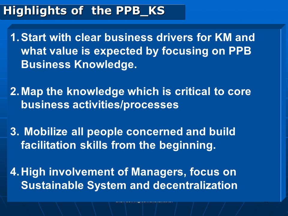 Highlights of the PPB_KS