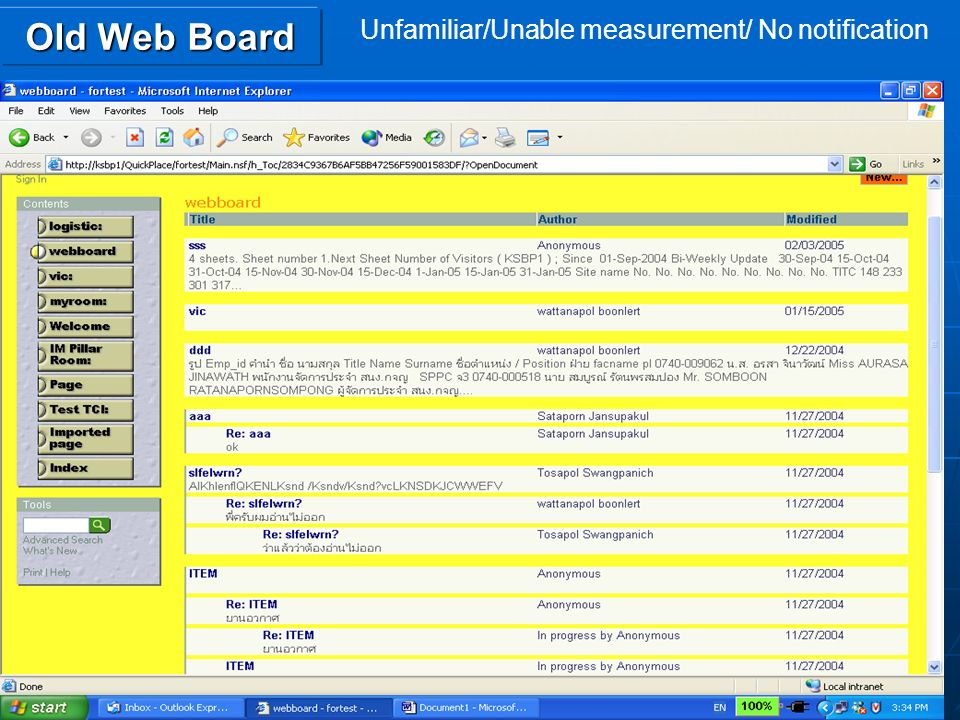 Old Web Board Unfamiliar/Unable measurement/ No notification
