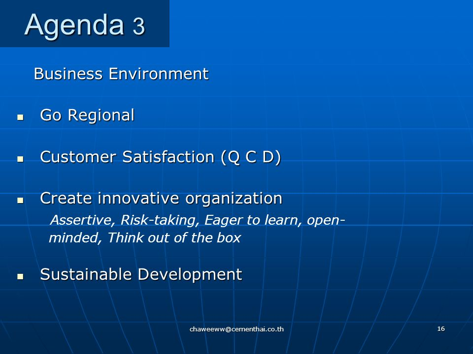 Agenda 3 Business Environment Go Regional