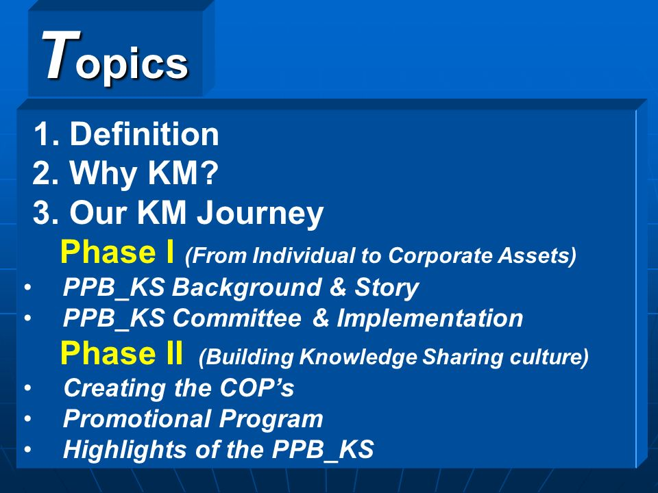 Topics 1. Definition 2. Why KM 3. Our KM Journey
