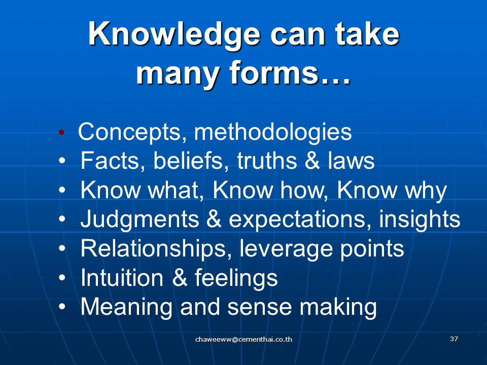 Knowledge can take many forms…