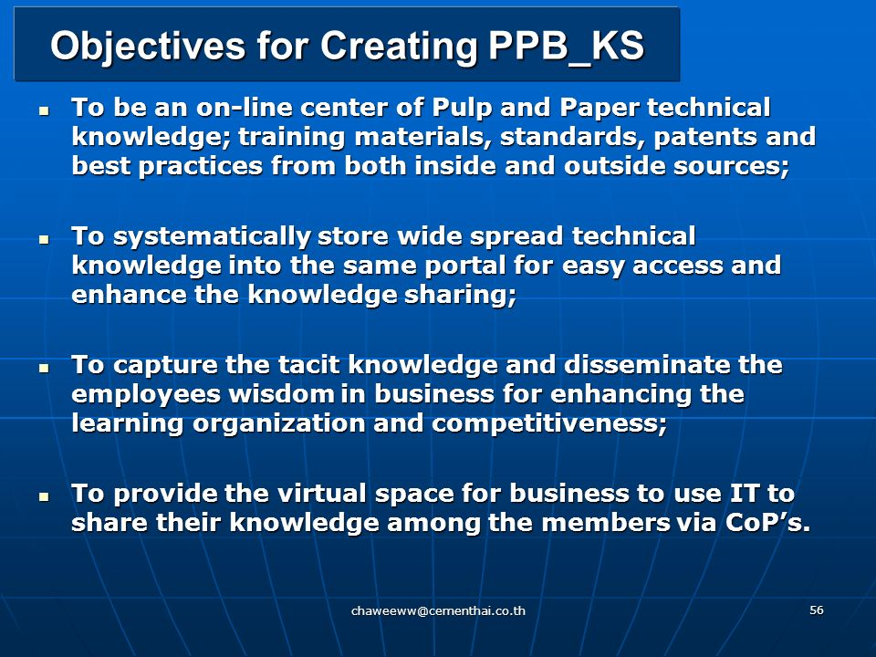Objectives for Creating PPB_KS
