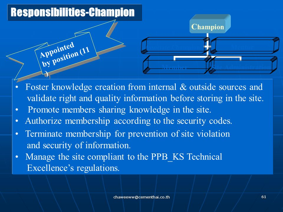 Responsibilities-Champion