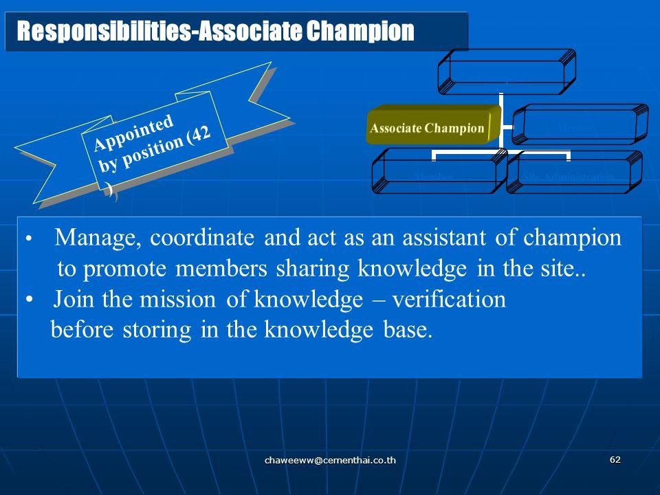 Responsibilities-Associate Champion