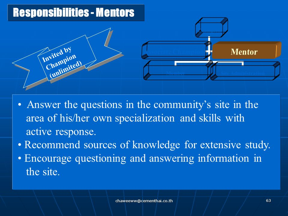 Responsibilities - Mentors