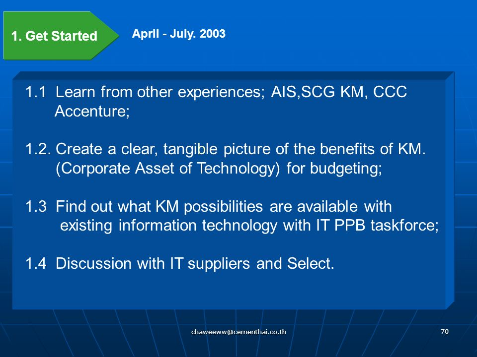 1.1 Learn from other experiences; AIS,SCG KM, CCC Accenture;