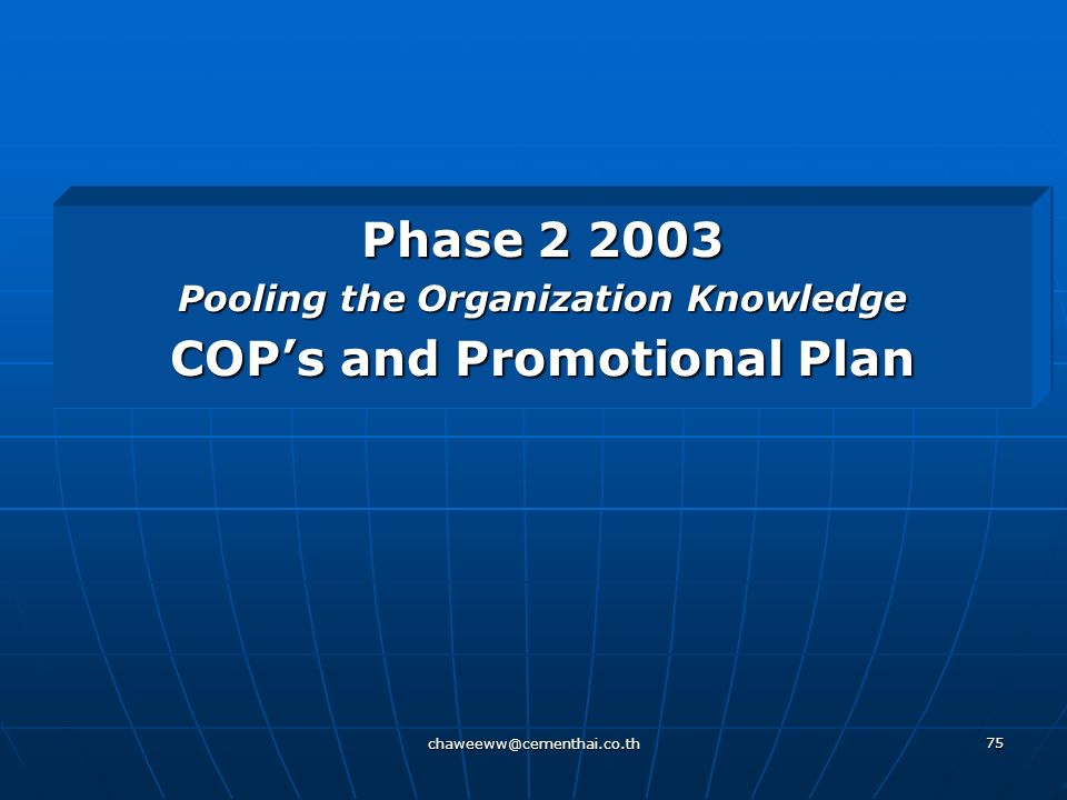 Pooling the Organization Knowledge COP's and Promotional Plan