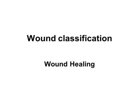 Wound classification Wound Healing.
