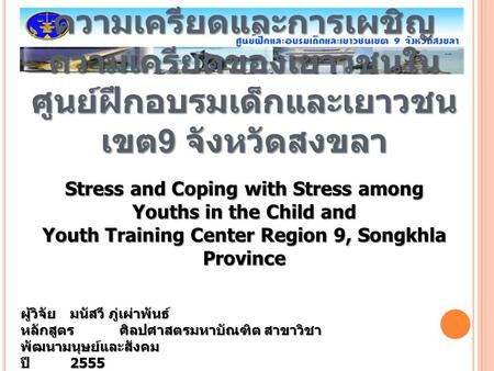 Stress and Coping with Stress among Youths in the Child and