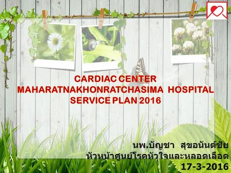 Cardiac Center Maharatnakhonratchasima Hospital service plan 2016