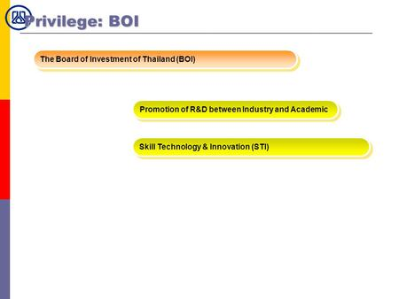 Privilege: BOI The Board of Investment of Thailand (BOI)