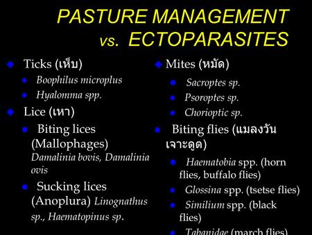 PASTURE MANAGEMENT vs. ECTOPARASITES
