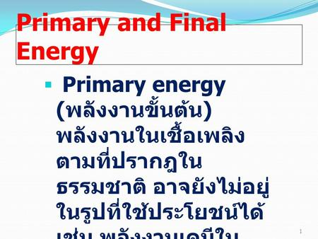 Primary and Final Energy