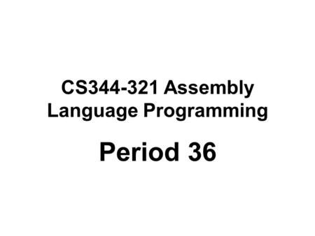 CS Assembly Language Programming